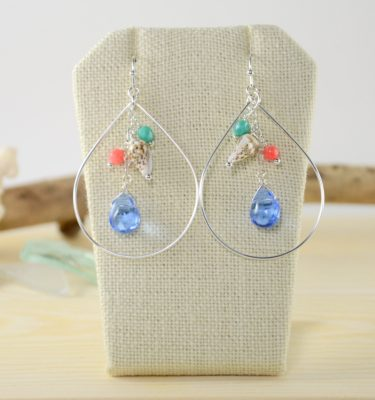 Blue glass pink coral teal bead silver teardrop earrings 1