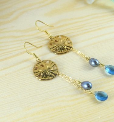 Gold sand dollar blue quartz earirngs