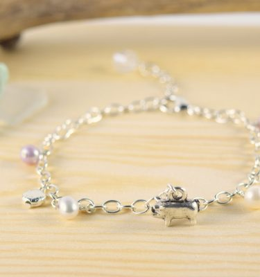 Silver pearl pig charm bracelet 2