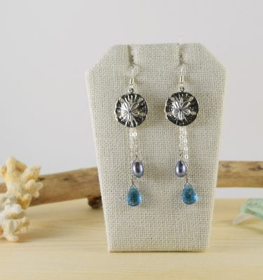 Silver sand dollar blue quartz earings 1