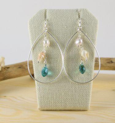 Silver teardrop teal crystal earrings 2