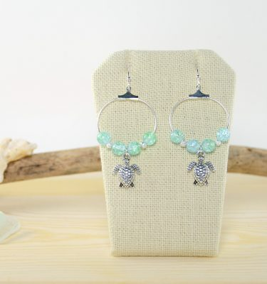 Silver turtle green crackle earrings 1