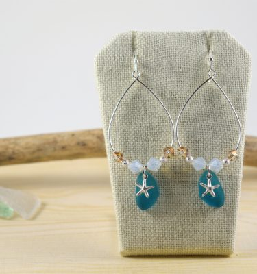 Teal Beachglass and Crystal Silver Earrings