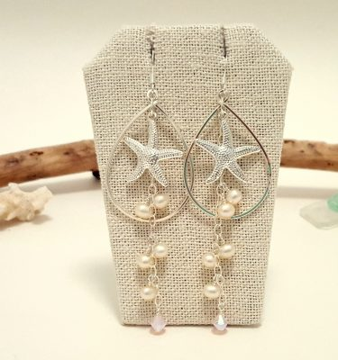 Silver starfish freshwater pearl teardrop earrings 1