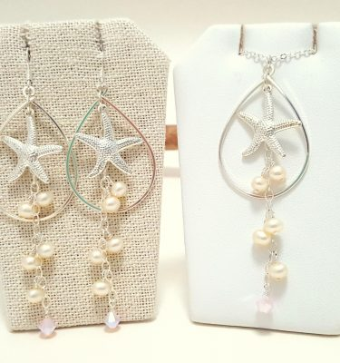 Silver starfish freshwater pearl teardrop earrings and necklace