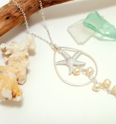Silver starfish freshwater pearl teardrop necklace 3