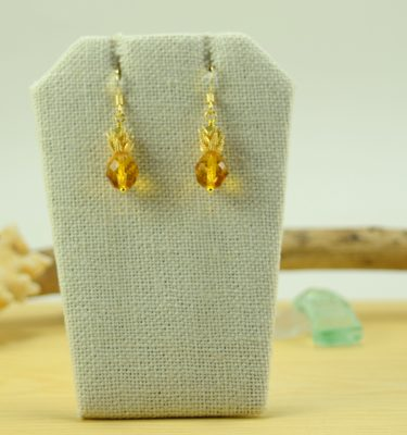 Gold topaz pineapple earrings 1