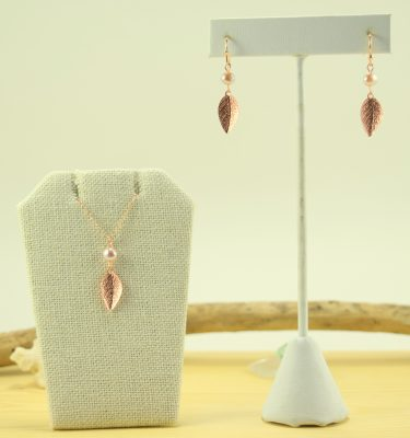 Rose gold leaf and pearl earrings and necklace set