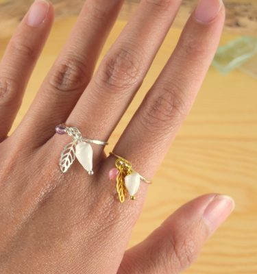 Silver and gold charm ring 1