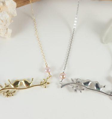 Lovebirds on branch necklace 1