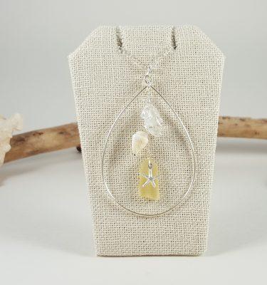 Silver starfish sea glass teardrop hoop necklace yellow 1