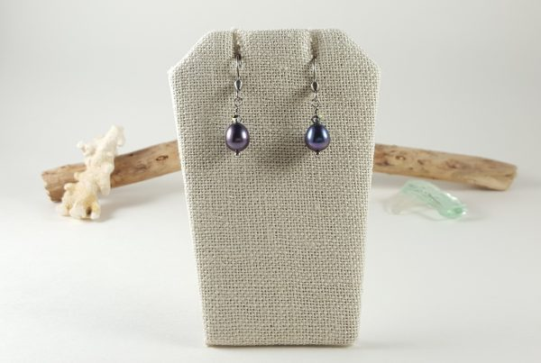 Single pearl stainless steel dangle earrings 1