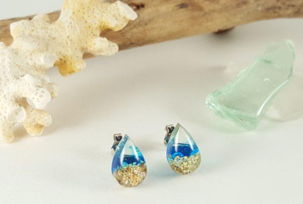 Sand teardrop stud earrings 2