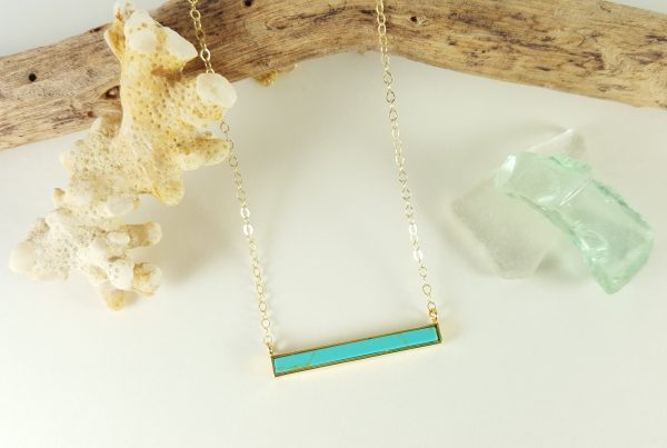 Turquoise bar necklace gold 2