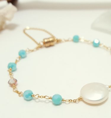 Freshwater coin pearl aqua bracelet 2