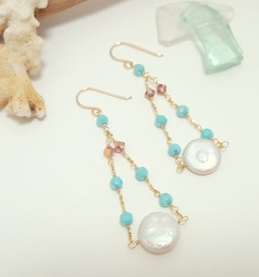 Freshwater coin pearl aqua earrings 2