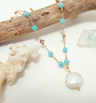 Freshwater coin pearl aqua necklace 2