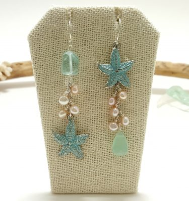 Blue starfish assymetrical earrings 5