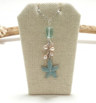 Blue starfish pearl and green glass necklace 1