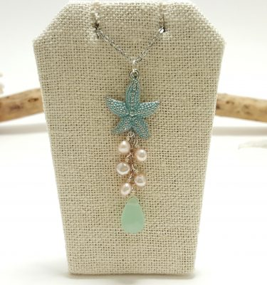 Blue starfish pearl and milky green glass necklace 1