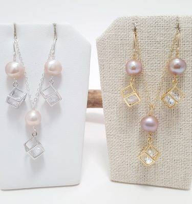 Freshwater pearl crystal cube earring and necklace silver and gold