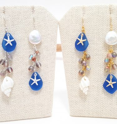 Cobalt seaglass asymmetrical earrings silver and gold