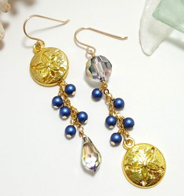 Gold sand dollar blue pearl earrings 3