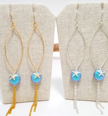Blue crystal pearl starfish marquise wire earrings silver and gold