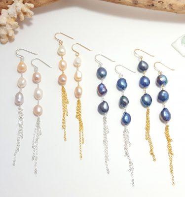 Baroque pearl tassel earrings 4