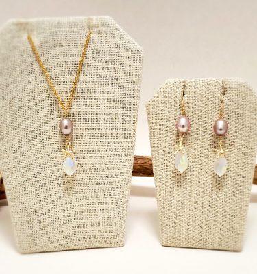 Lavender pearl matte crystal starfish set 1