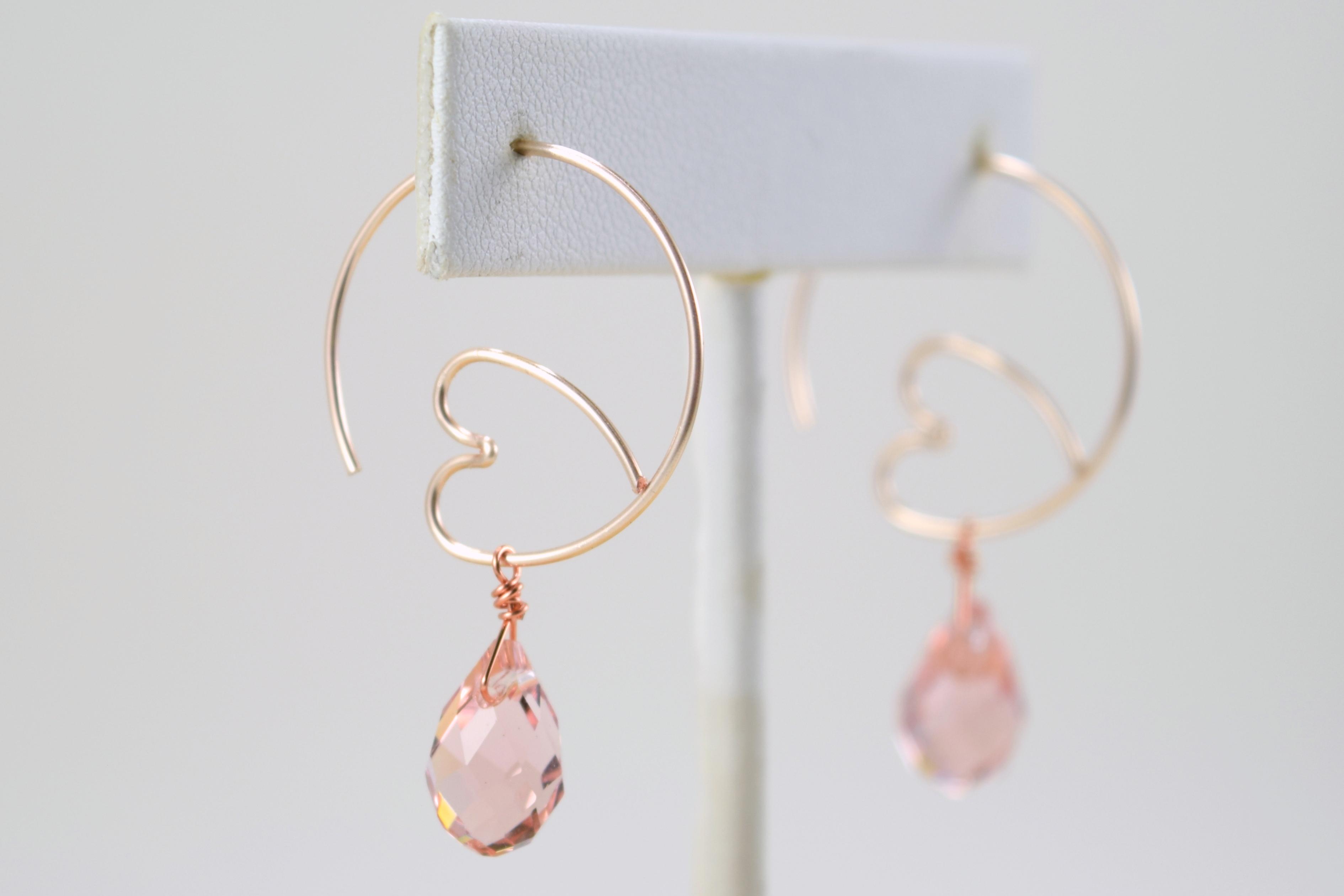 1ef10fdce2202e Heart Hoop and Crystal Earrings | skinny pig designs